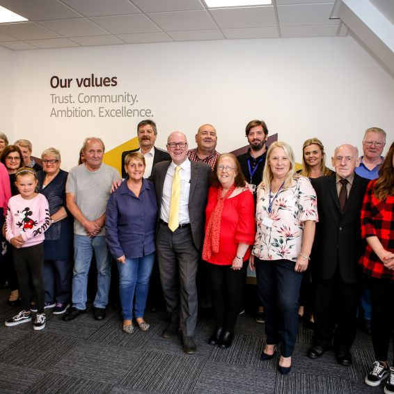 Kevin Stewart meets staff and tenants from Dunedin Canmore