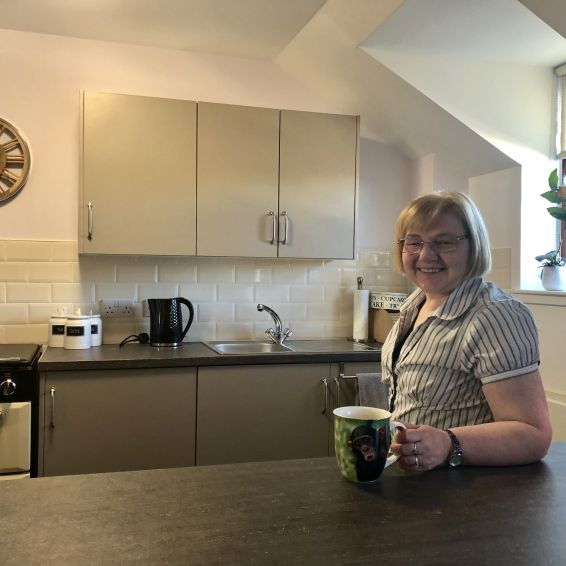 Elaine Edwards in her new kitchen
